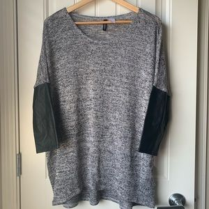 H&M Divided Knit Dolman 3/4 Pleather Sleeve Top